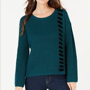 Style&Co Velvet Lace-Up Sweater